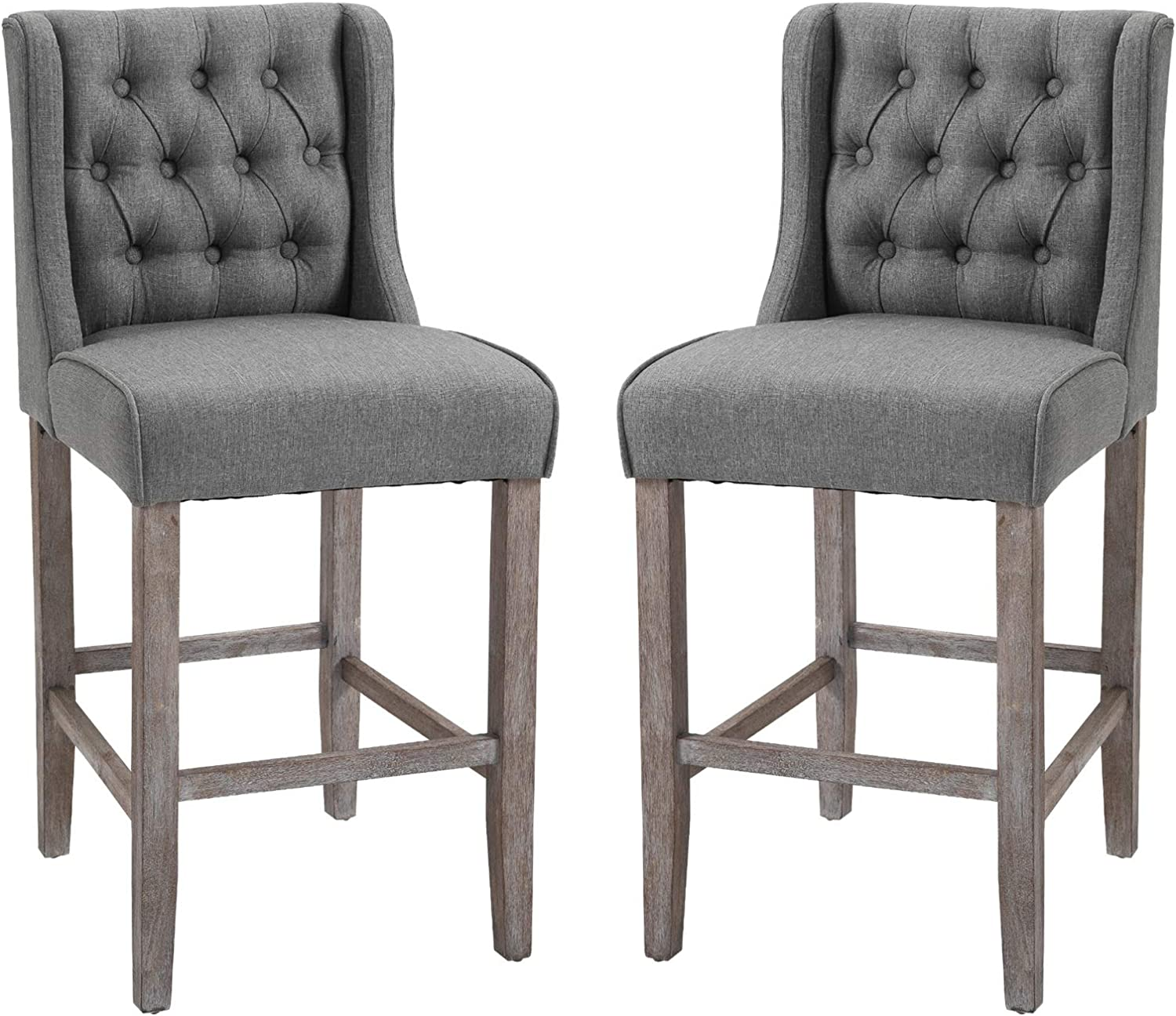 Amazon Com Homcom 40 Tufted Wingback Counter Height Armless Bar Stool Dining Chair Set Of 2 Grey Home Kitchen