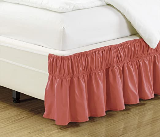 Ruffled Elastic Solid Bed Skirt Silky Soft 14 inch Fall Microfiber Dust Ruffle
