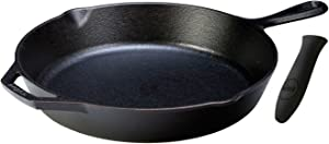 Lodge Seasoned Cast Iron Skillet with Hot Handle Holder - 10.25 inches Cast Iron Frying Pan with Silicone Hot Handle Holder (BLACK).