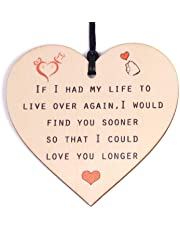 HONZEE Gifts for Women Her Birthday You Are Braver Stronger Smarter & Beautiful Wooden Hanging Heart Personalised Gifts for Friend Friendship Sister Daughter under 10 Pounds