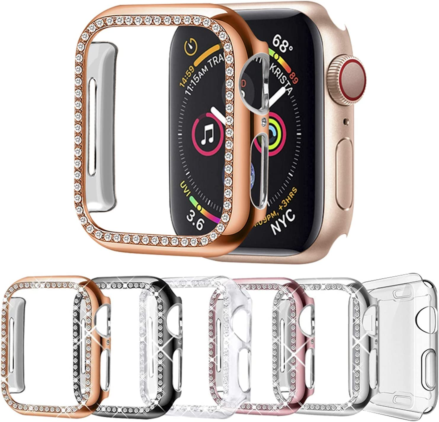 DSYTOM Case Compatible with Apple Watch 42mm, Bling PC Full Cover Bumper & TPU Soft Screen Protector Case for iWatch Series 3/2/1 Women Girl,(42MM,6 Pack)