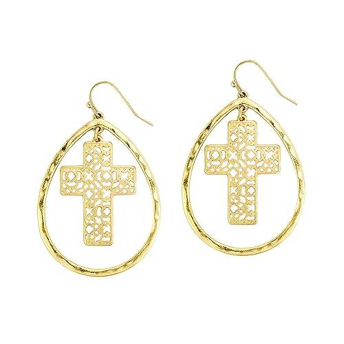 429ba0ff4 Amazon.com: Pomina Filigree Cross in a Teardrop Drop Earrings (Gold ...
