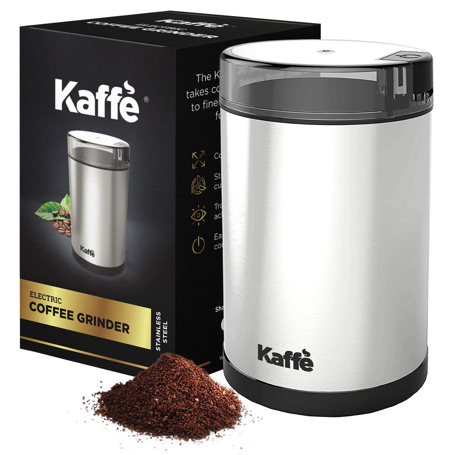 KF2020 Electric Coffee Grinder by Kaffe - Stainless Steel 2.5oz Capacity with Easy On/Off Button by Kaffe Products