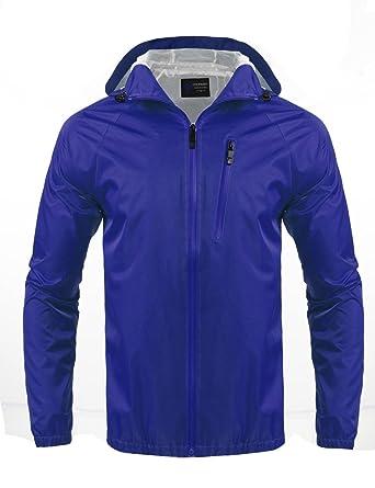 c018a1745 Coofandy Men's Outdoor Hiking Jacket Waterproof Rain Coat , Blue , Small