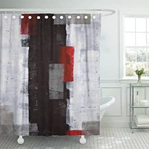 Emvency Fabric Shower Curtain Curtains with Hooks Black Modern Red and Grey Abstract Painting White Wall Acrylic Contemporary Gallery Lines Squares Interior 66