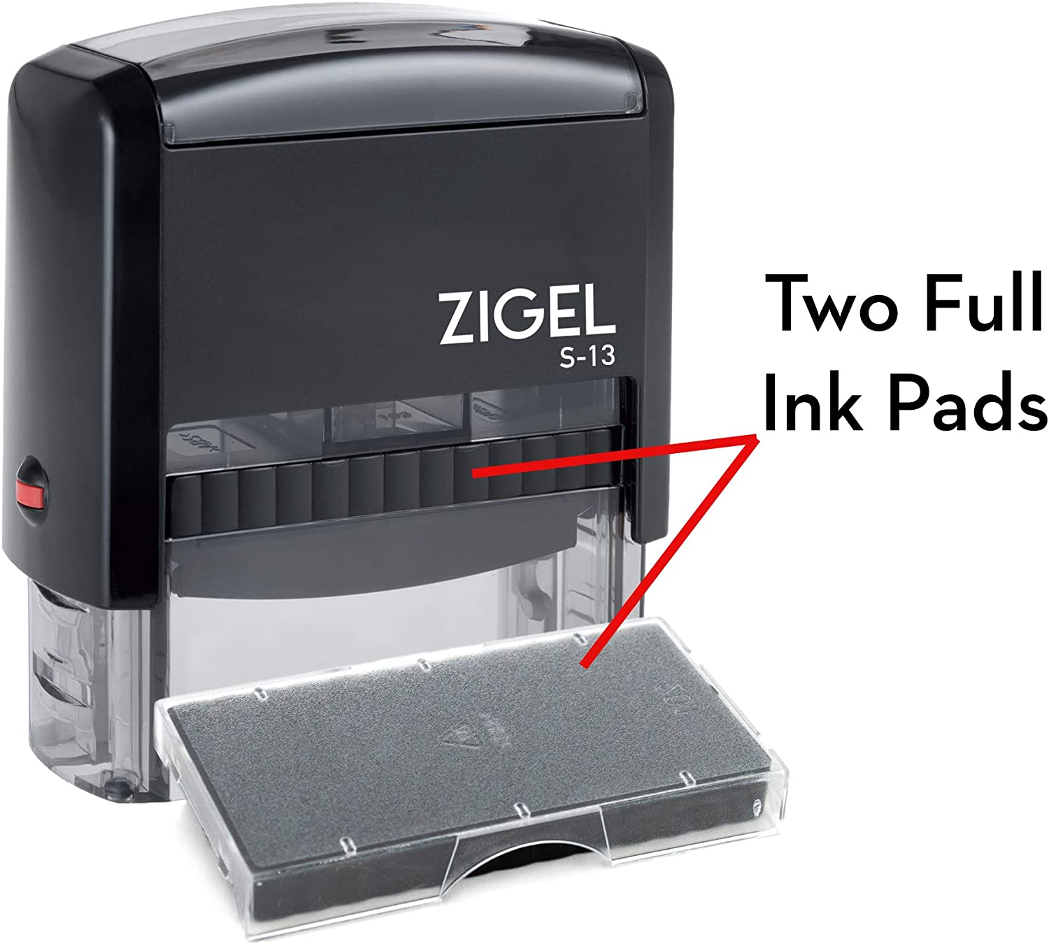 ZIGEL S-13 Large Text Stamp 7//8 x 2-3//8 with Extra Replacement Ink Pad Many font and color choices Customize Online up to five lines of type