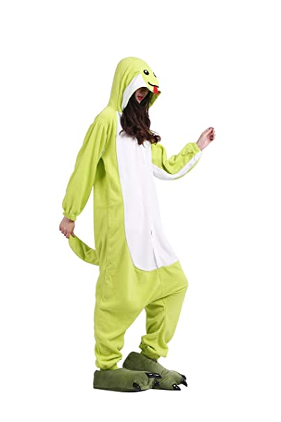 YUWELL Onesie Pijamas Unisex Cosplay Animales Kigurumi Traje Disfraz Pyjamas Halloween, Serpiente verde S (