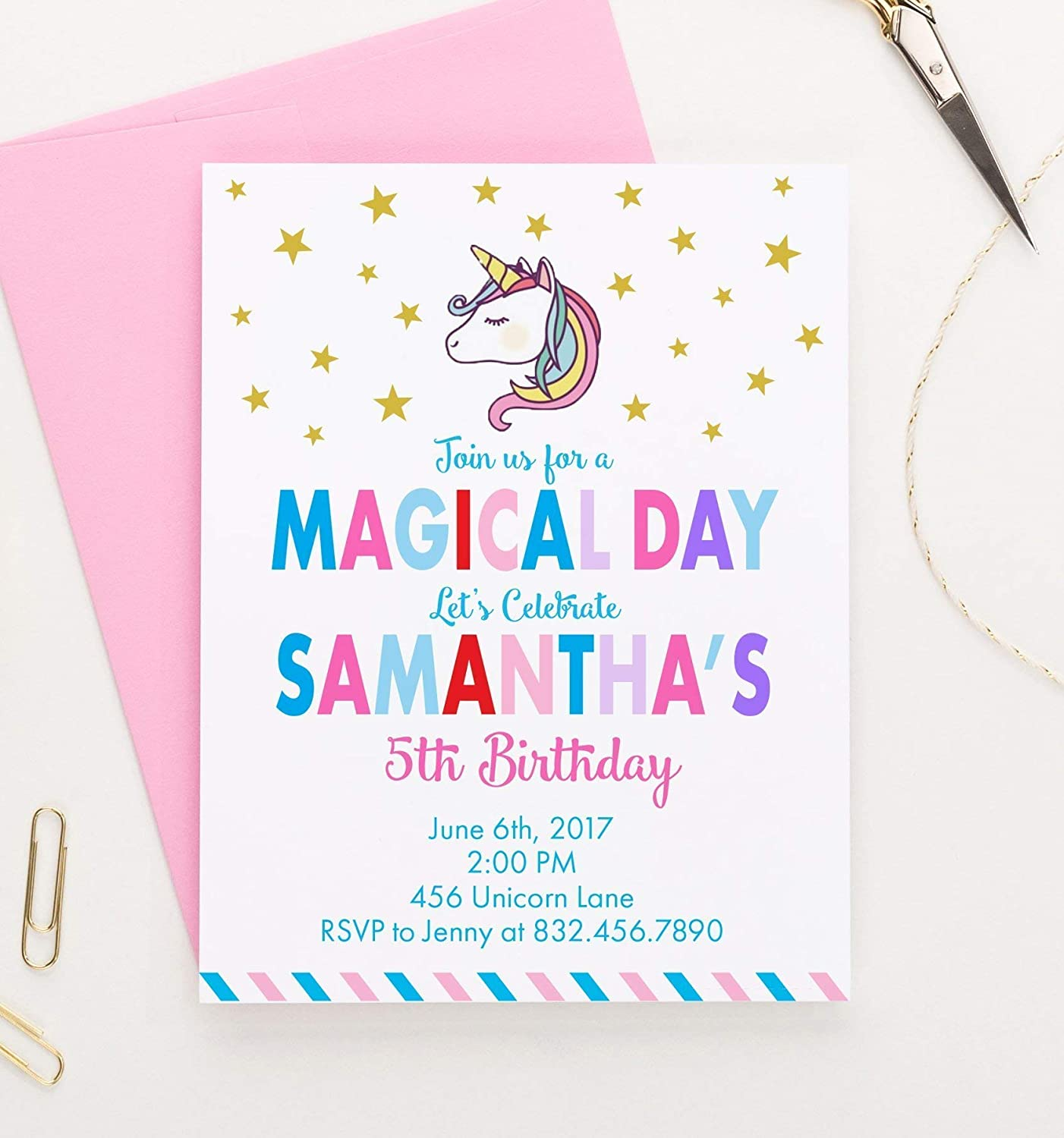 Amazon Personalized Unicorn Birthday Invitation Invitations Invites For Girls Your Choice Of Quantity Age Info And Envelope