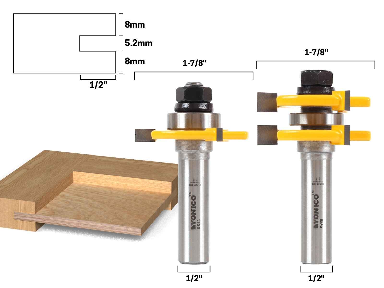 Yonico 15231 1/4-Inch Plywood 2 Bit Plywood Tongue and Groove Router Bit Set 1/2-Inch Shank by Yonico