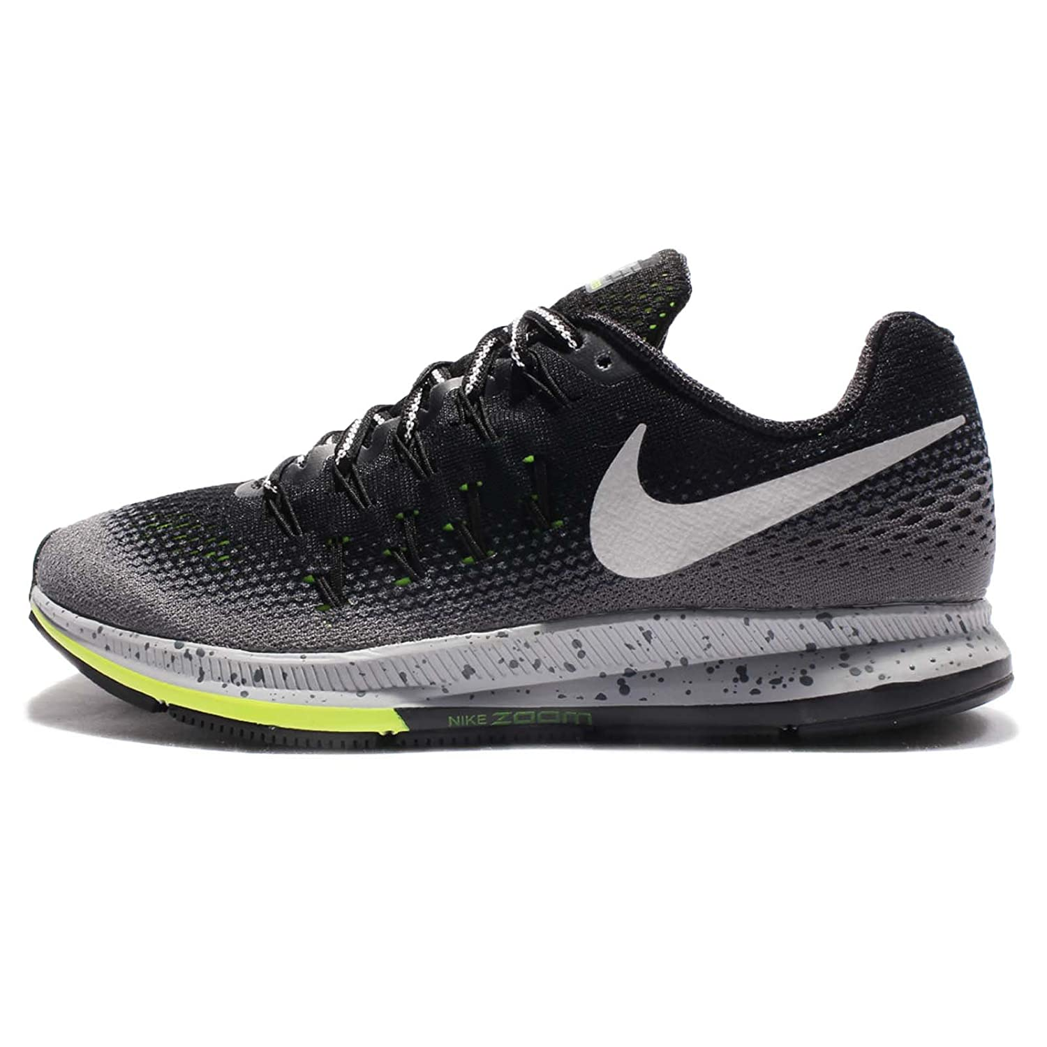 NIKE Women's W Air Zoom Pegasus 33 Shield, Black/Metallic Silver-Dark  Grey-Stealth, 10.5 M US