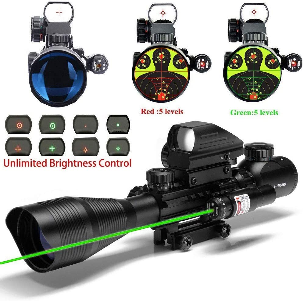 THEA C4-12X50 Scope Dual Illuminated Reticle W Green RED Laser Sight and 4 Tactical Holographic Dot Reflex Sight 12 Month Warranty