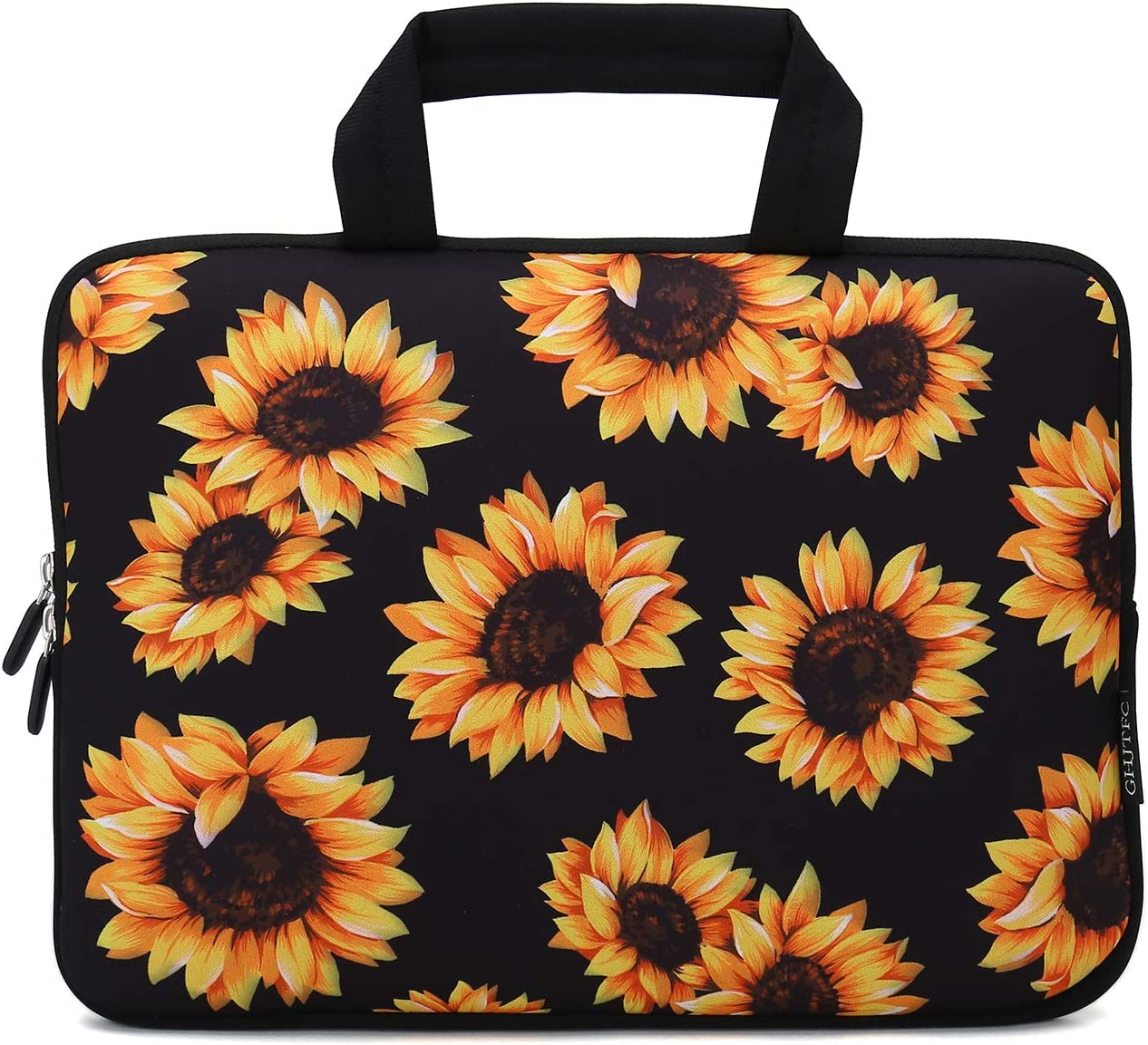 "12 Inch Laptop Sleeve Carrying Bag Protective Case Neoprene Sleeve Tote Tablet Cover Notebook Briefcase Bag with Handle for Women Men(Sunflower,12"")"