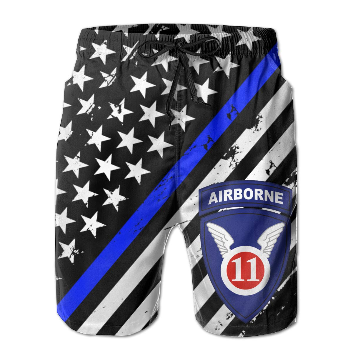United States Army Airborne School The 11th Airborne Summer Swim Trunks 3D Print Beach Board Shorts for Men