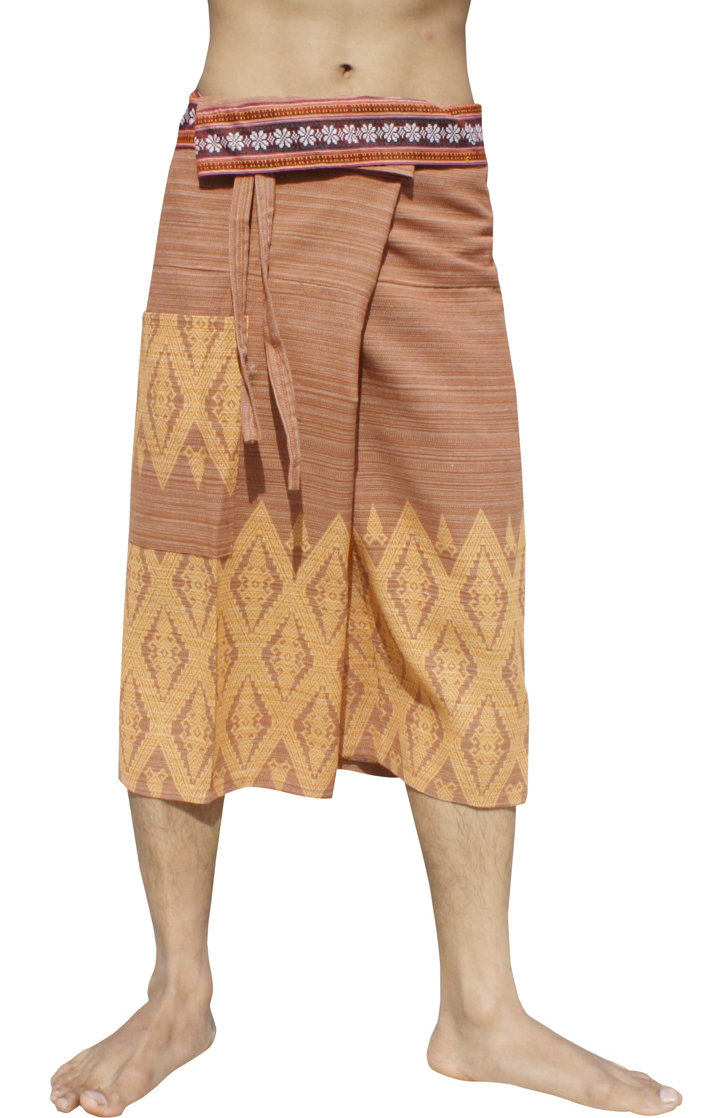 RaanPahMuang Stripe Cotton Fisherman Shorts North Thai Woodblock Artwork and Belt Art, L/XL, Bronze Brown by RaanPahMuang