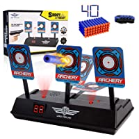 SWEE Electric Scoring Auto Reset Shooting Digital Target for Nerf Guns Blaster Elite/Mega/Rival Series with 40 Pcs Refill Darts and 1 Hand Wrist Bands