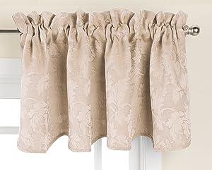 "LORRAINE HOME FASHIONS 06333-V-00042 Flora Window Curtain Valance, 52"" x 18"", Taupe"