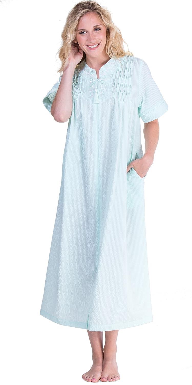 Miss Elaine Women s Seersucker Solid Long Zipper Robe at Amazon Women s  Clothing store  351d56605