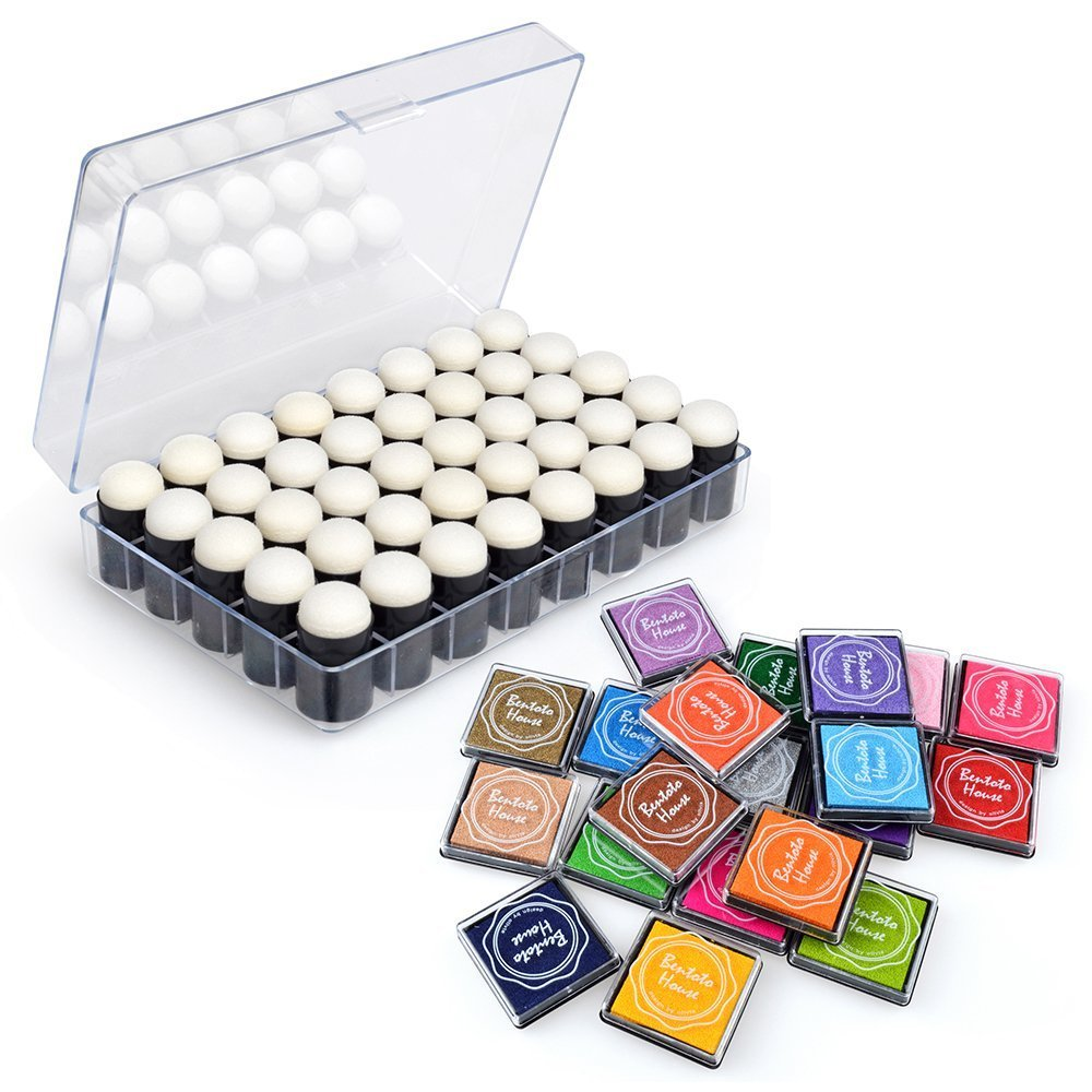 GooMart 40 Pack Craft Sponge Daubers with Case and 20 Colors Washable Ink Pad as a Gift