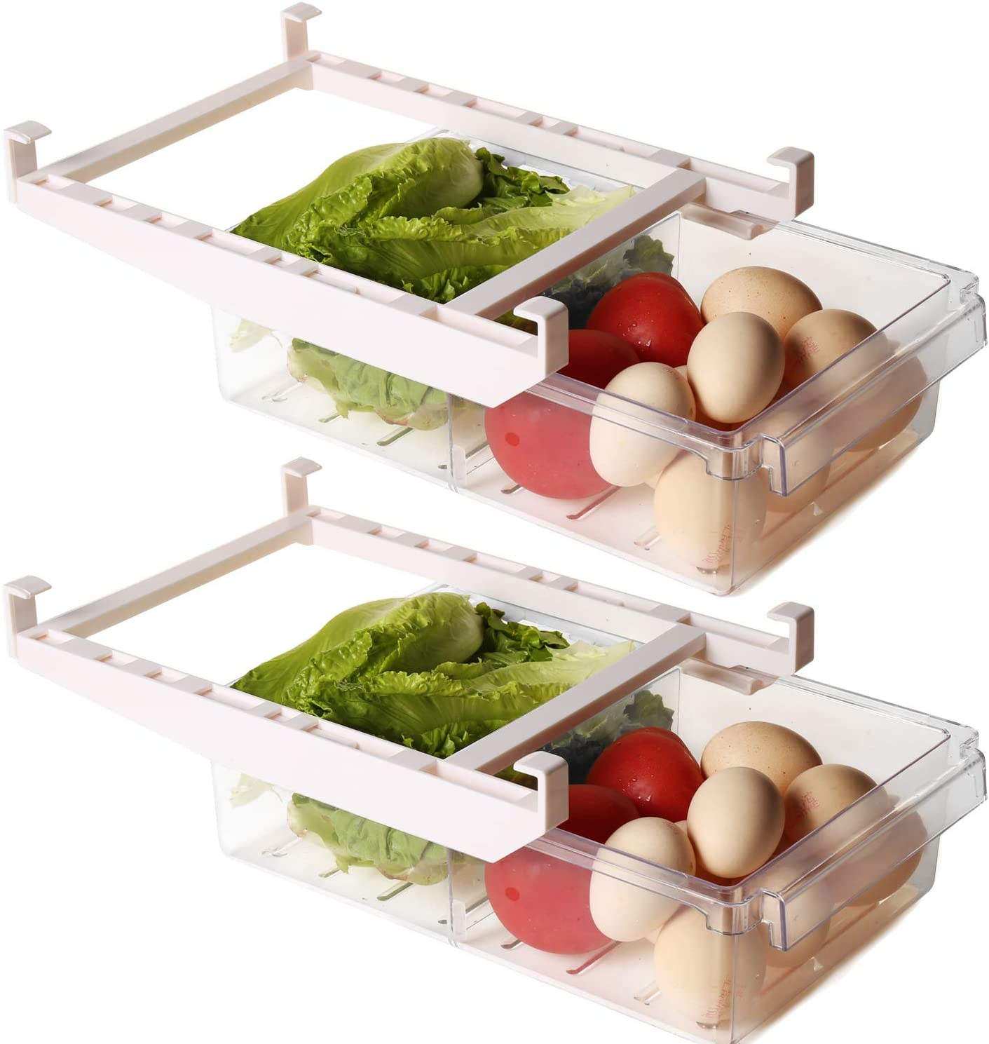 Shopwithgreen 2 Pack Refrigerator Organizer Bins with Handle, Pull-out Fridge Drawer Organizer, Freely Pullable Refrigerator Storage Box with 2 Divided Sections, Fit for 0.78'' Fridge Shelf