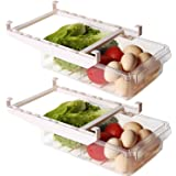 Shopwithgreen 2 Pack Refrigerator Organizer Bins with Handle, Pull-out Fridge Drawer Organizer, Freely Pullable Refrigerator