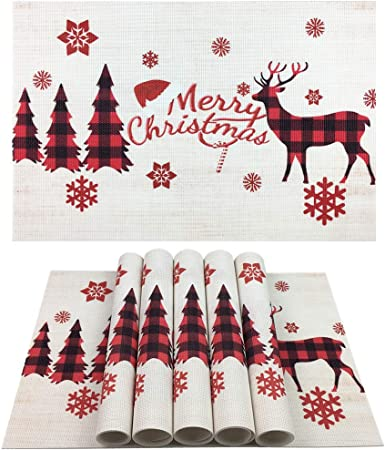 """NEW Set 4 WINTER DEER PLACEMATS Fabric 13/"""" X 19/""""  Teal Blue SNOWFLAKES Barn Tree"""