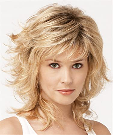 Amazon Com Deyssne Medium Length Blonde Ombre Curly Wigs With Bangs
