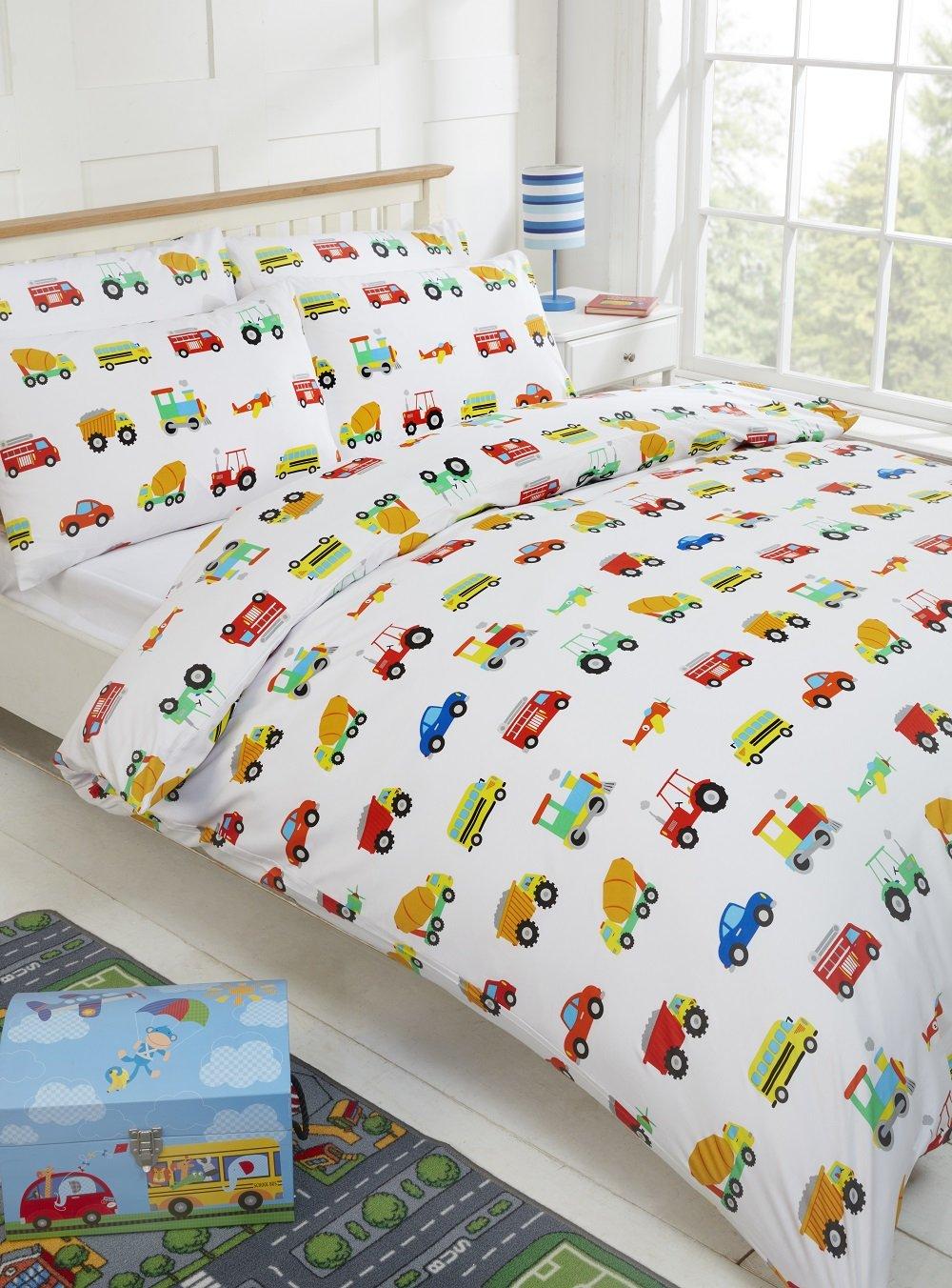 100% Cotton Kids Duvet Cover Set 200 Thread Count Cars Traffic Planes Trucks Trains (Single Duvet Cover & 1 Pillowcase) Novelux