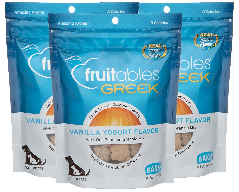 Fruitables Greek Crunchy Dog Treats Vanilla Yogurt Flavor with Pumpkin Granola & Greek Yogurt (3 Pack) 7 oz Each by Fruitables