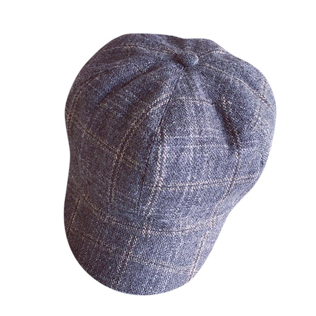 YanHoo Patchwork Coppola Visiera Pelle, berretto piatto cappellino in lana cappello invernale caffè)