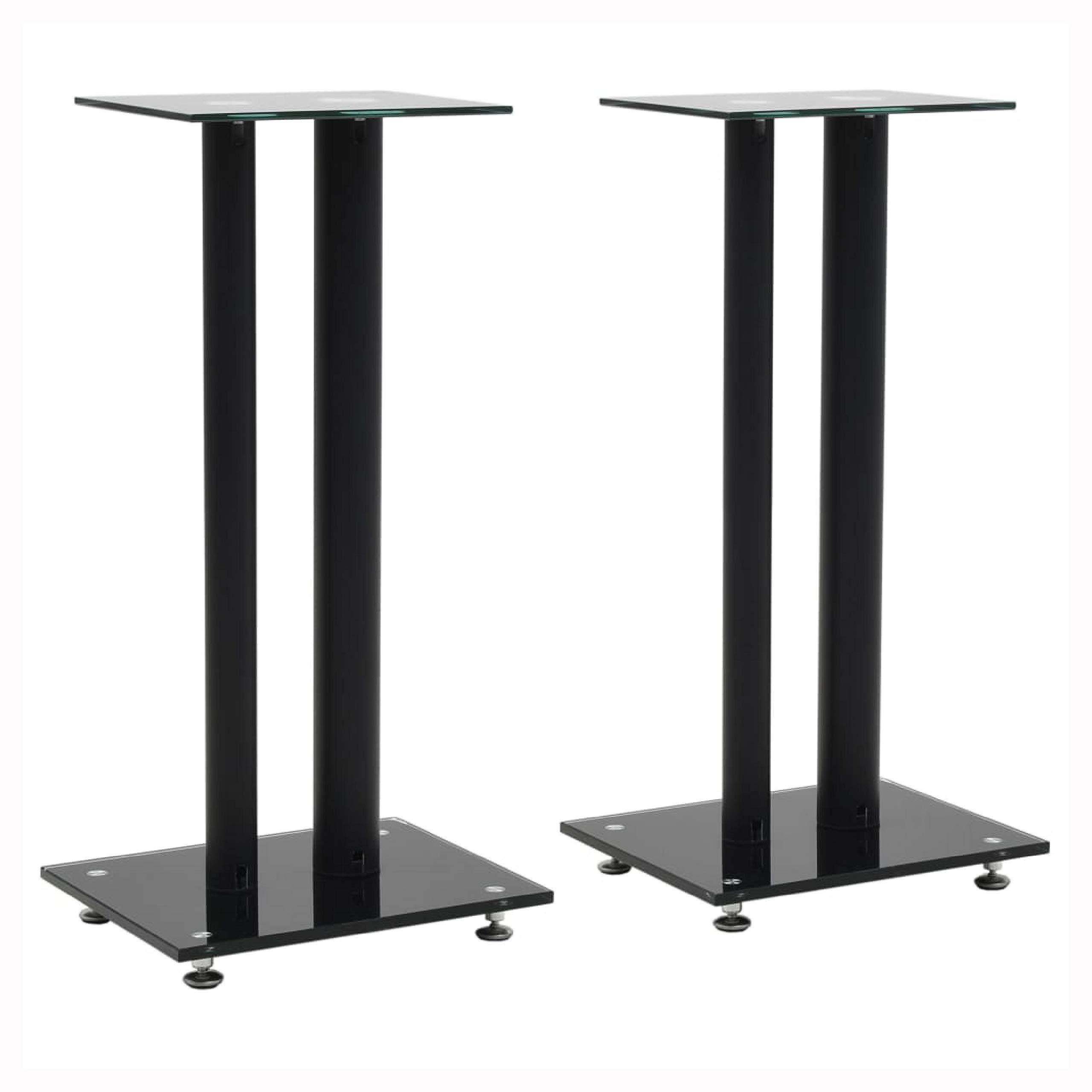 HomyDelight Speaker Stand & Mount, Speaker Stands 2 pcs Tempered Glass 2 Pillars Design Black by HomyDelight