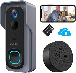 WiFi Video Doorbell Camera,1080P HD Wireless Home Security Door Bell with 32GB Pre-Installed/Chime, IP66 Waterproof, Human Detection, 166°Wide Angle, Real-Time Video and 2 Way Audio for iOS & Android