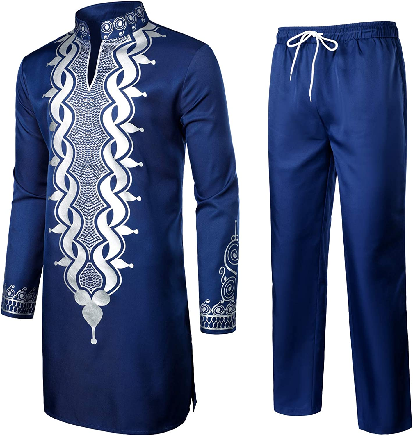 LucMaton Mens African 2 Piece Set Long Sleeve Gold Print Dashiki and Pants Outfit Traditional Suit