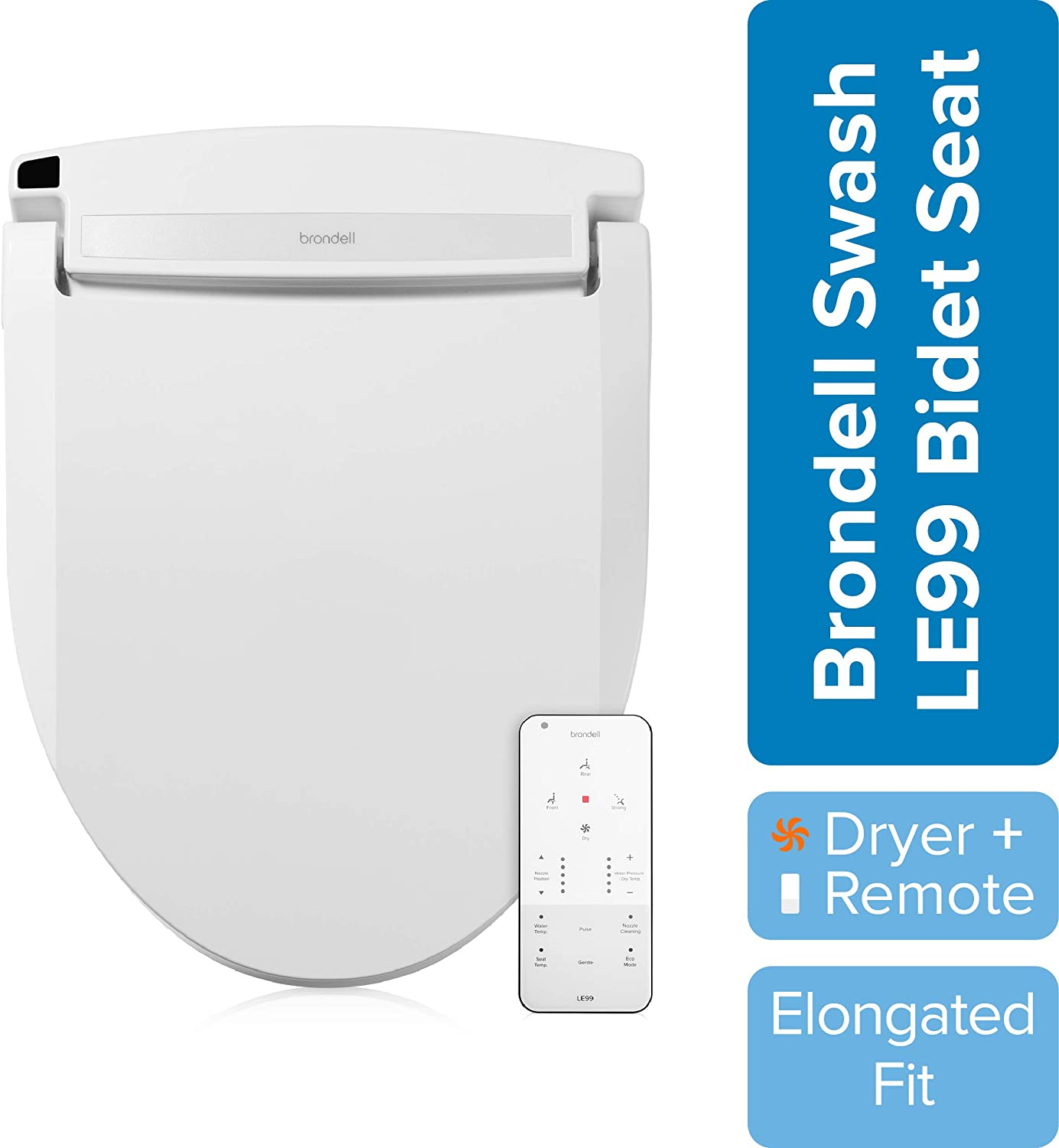 Brondell Swash Electronic Bidet Toilet Seat LE99, Fits Elongated Toilets, White – Lite-Touch Remote, Warm Air Dryer, Strong Wash Mode, Stainless-Steel Nozzle, Saved User Settings & Easy Installation