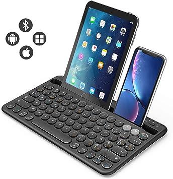 Jelly Comb Teclado inalámbrico Bluetooth multidispositivos, Azerty recargable para Tablet Huawei/Samsung/iPad 10.2/Ipad Pro 11/12,9/Smartphone, PC, ordenador portátil, Smart TV: Amazon.es: Electrónica