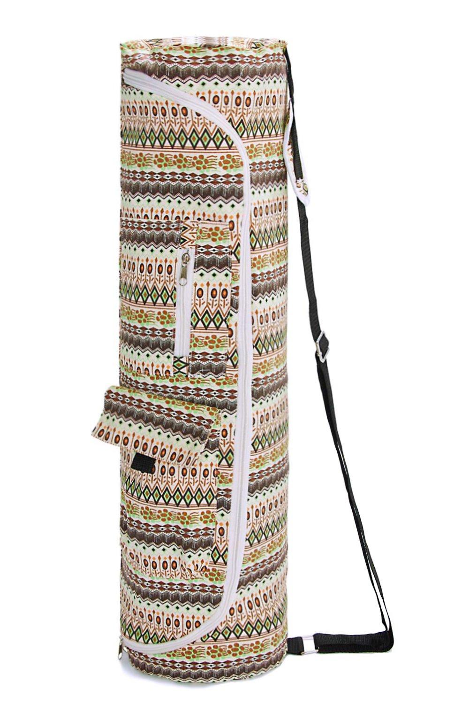 tuonroadフルジップExerciseヨガバッグヨガマット印刷されたキャリアバッグ調節可能なストラップExtra Large Yoga Sling Bag with機能ストレージポケットfor Women and Men (27.9