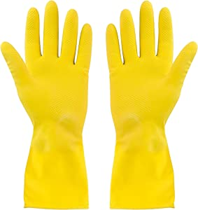 SteadMax 2 Pack Yellow Cleaning Gloves, Professional Natural Rubber Latex Gloves, Large Size (2 Pairs)