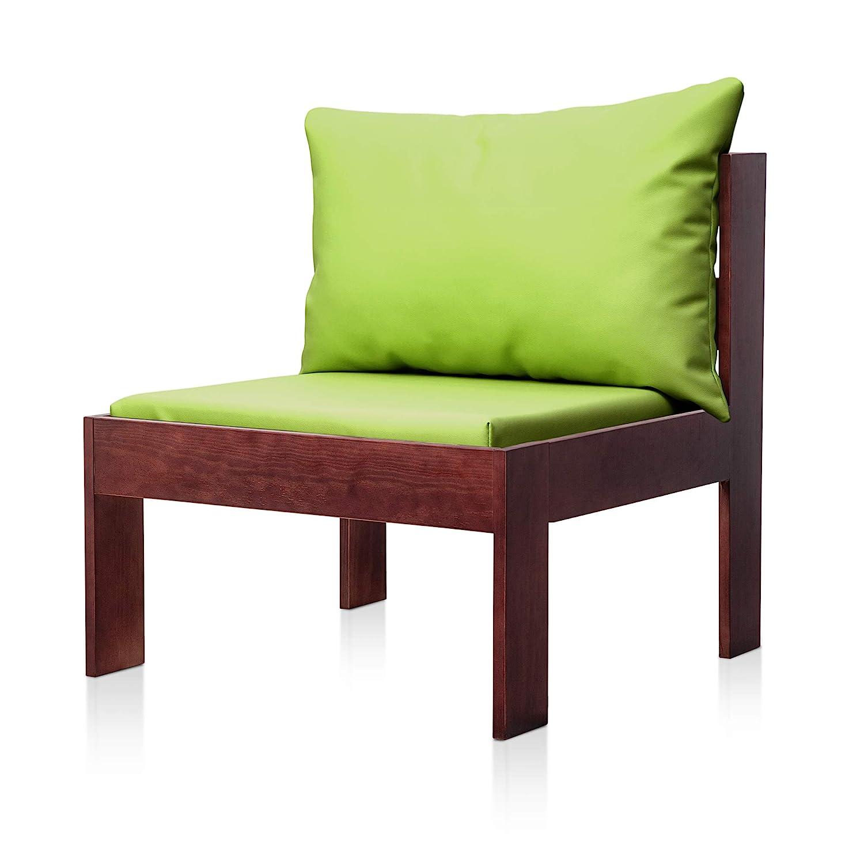 SUENOSZZZ - Sofa Jardin de Madera de Pino Color Nogal, MEDITERRANEO Mod. Respaldo, Sillon cojín Polipiel Color Pistacho. Muebles Jardin Exterior. ...