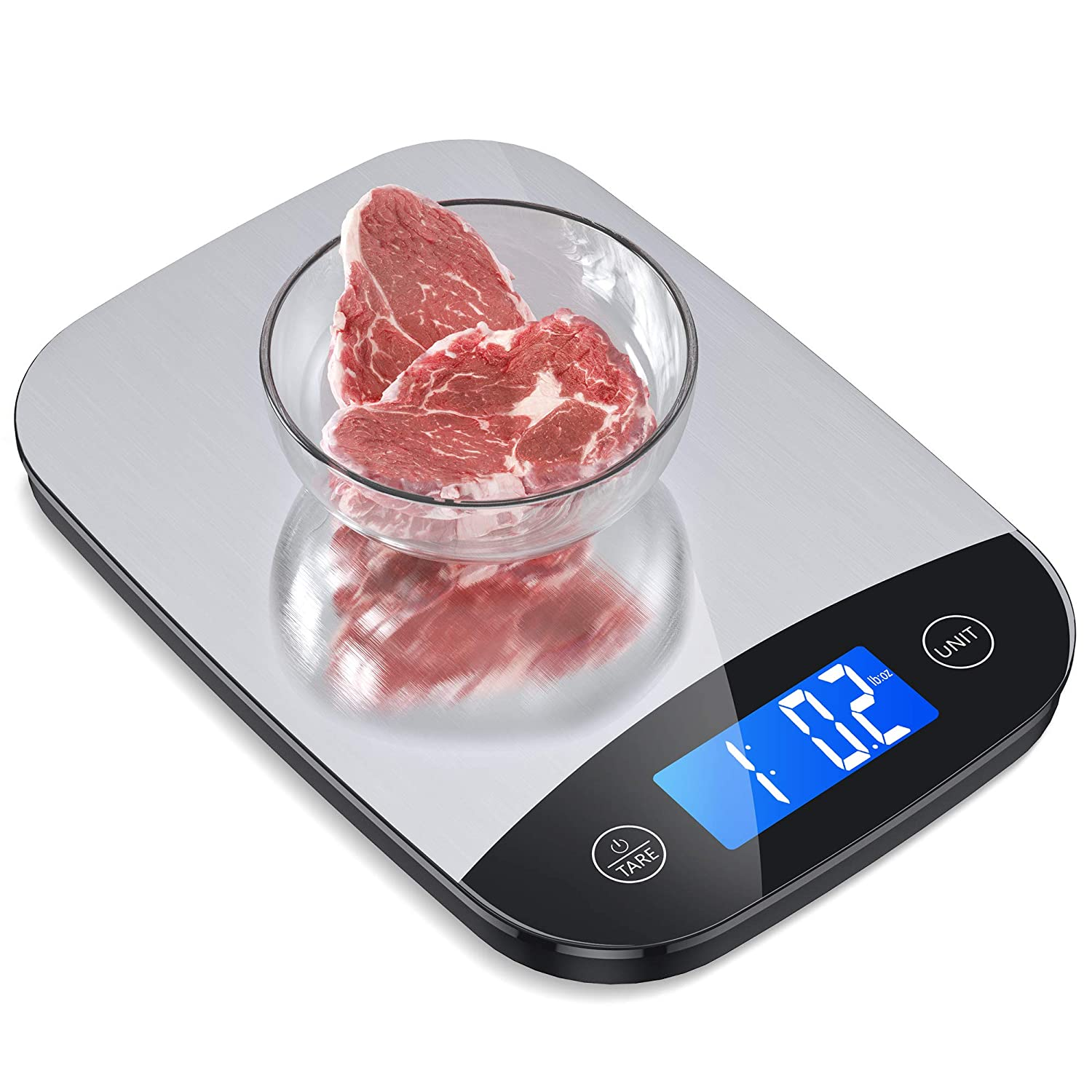 Nicewell Food Scale, 22lb Digital Kitchen Stainless Steel Scale Weight Grams and oz for Cooking Baking, 1g/0.1oz Precise Graduation,Tempered Glass New Version