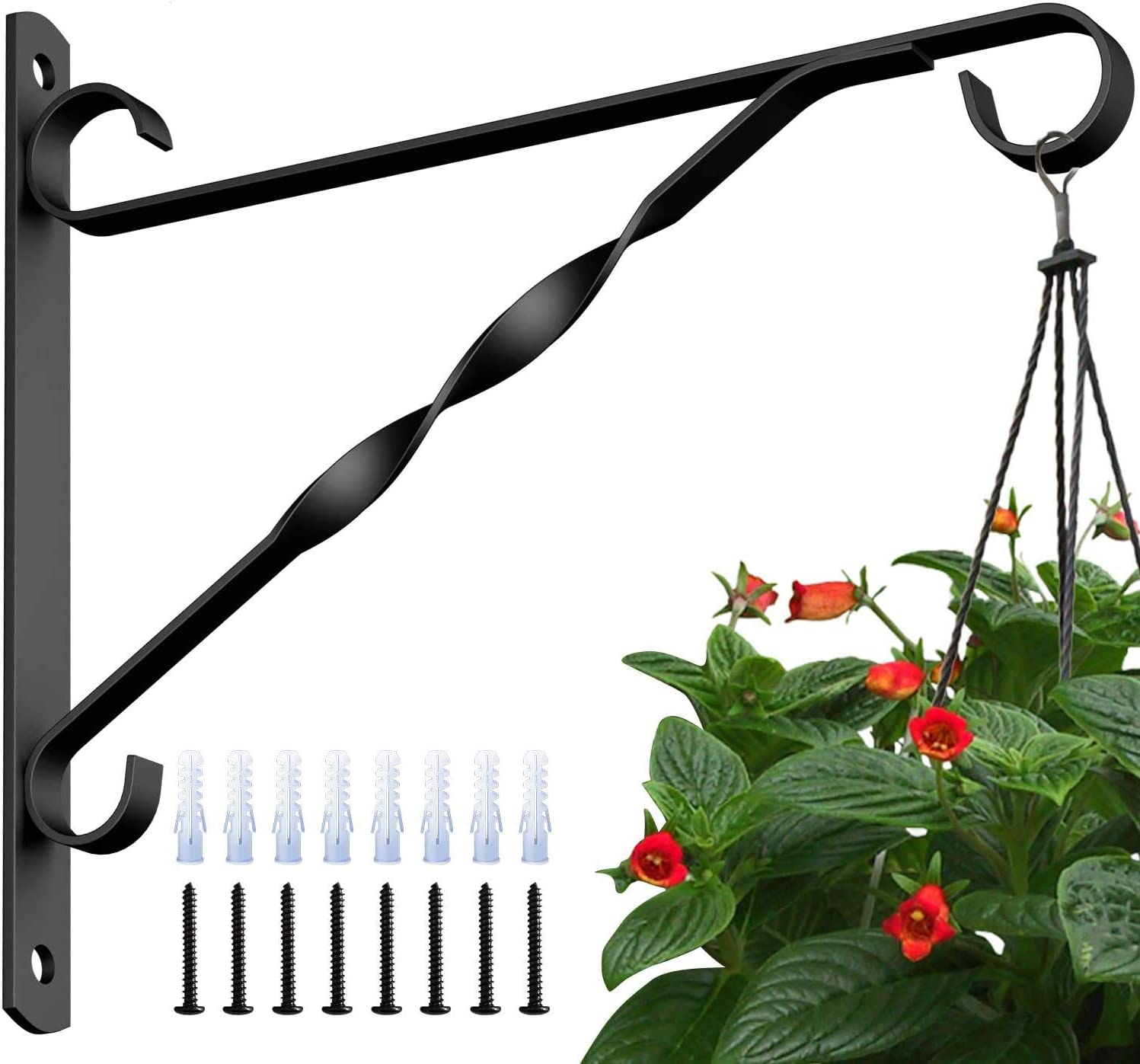4 Pack Hanging Plants Bracket 10'' Wall Planter Hook Flower Pot Bird Feeder Wind Chime Lanterns Hanger Patio Lawn Garden for Shelf Shelves Fence Screw Mount Against Door Arm Hardware