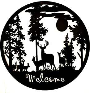 Bellaa 21895 Laser Cut Metal Wall Art Deer Pine Forest Mountain Lodge Woodland Cabin Decor 24 inch