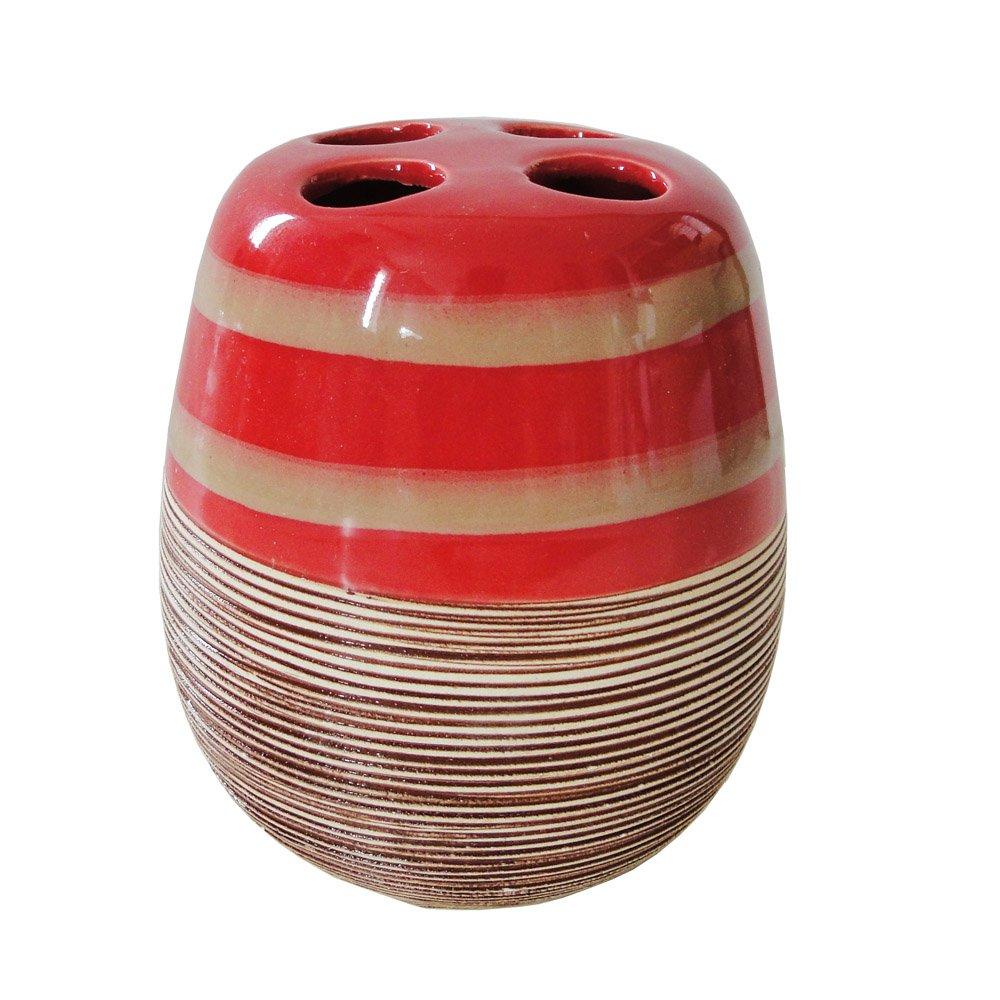 KORALL Farbe:rot//-beige Streifen Keramik-AWD DESIGN-NEU 2017-Bestseller Hochwertiges Sch/önes Badset 5 teilig-Modell