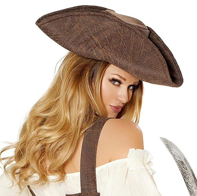 Women's Sexy Brown Faux Leather Rustic Pirate Hat Costume Accessory by Musotica