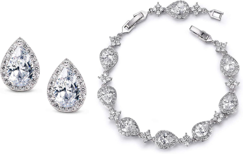 Crystal Jewelry Set Teardrop Earrings Set Gold Bridesmaids Set Crystal Earrings /& Bracelet Set TAMARA S4 Bridal Jewelry Set