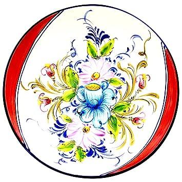 Pintado a mano tradicional Portuguesa cerámica decorativa redonda ensaladera: Amazon.es: Hogar