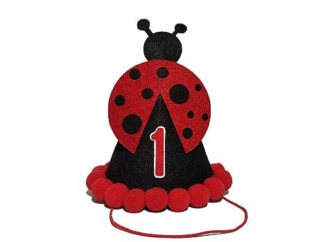 Groovy Orange Dolly Happy Ladybug 1St Birthday Party Hat First Birthday Personalised Birthday Cards Cominlily Jamesorg
