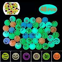 "QINGQIU 48 PCS Halloween Glow in The Dark Bouncy Balls 1.25"" Bouncing Balls Halloween Toys for Kids Girls Boys Halloween…"