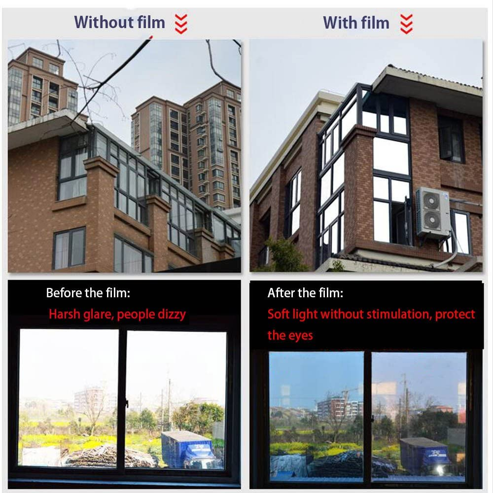 HOHOFILM 6 x16ft roll One Way Mirror Window Film Daytime Privacy Decal Glass Tint Reflective Silver Self-Adhesive