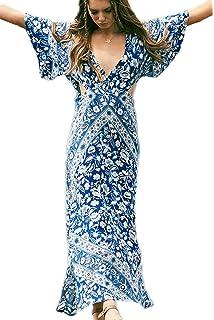 93b7284a8f Zilcremo Women s Summer Bohemian V Neck Backless Floral Asymmetrical Side  Slit Maxi Dress