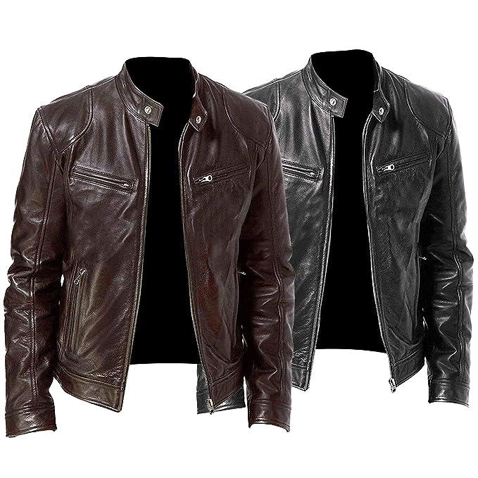 Amazon.com: Chaqueta de piel auténtica para hombre, estilo ...