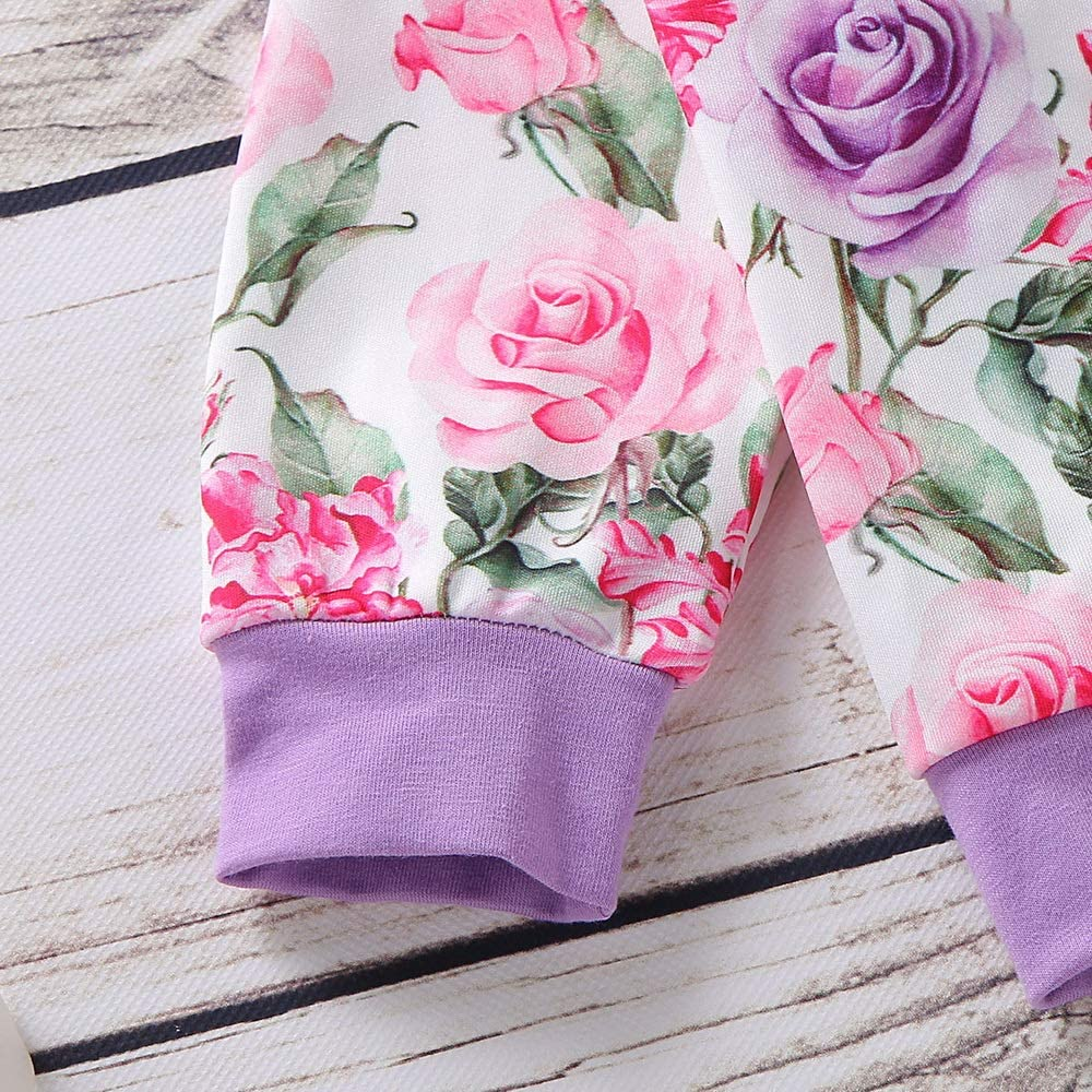 2 Pcs Baby Girls Long Sleeves Floral Print Sweatshirt Coat and Trousers Winter Autumn Clothes Set PYL Baby Tracksuit Set